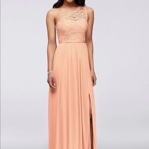 Peach Bellini One Shoulder Gown David's Bridal